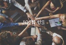Соедините нас соединяя членство участвуйте концепция стоковые изображения rf