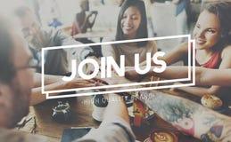 Соедините нас соединяя членство участвуйте концепция стоковая фотография