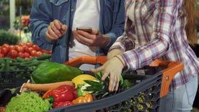 Соедините овощи и плодоовощи видов вне в тележке бакалеи сток-видео