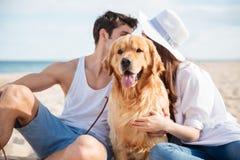 Соедините сидеть и прятать за собакой на пляже Стоковые Фото