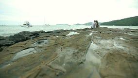 Соедините сидеть на утесах на пляже сток-видео