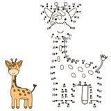 Соедините точки для того чтобы нарисовать милого жирафа и покрасить его иллюстрация вектора