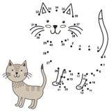 Соедините точки для того чтобы нарисовать милого кота и покрасить его иллюстрация вектора