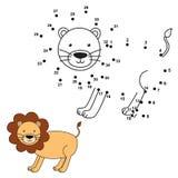Соедините точки для того чтобы нарисовать милого льва и покрасить его также вектор иллюстрации притяжки corel Стоковые Фотографии RF