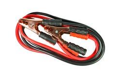 Соединительные кабели батареи на белой предпосылке Стоковое Изображение RF