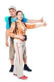 Соедините hikers с рюкзаками путешествовать, снимая на белизне Стоковые Фото