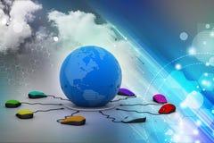 Соединяются мышей компьютера вокруг глобуса Стоковые Изображения RF