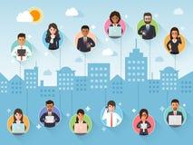 Соединяясь бизнесмен и коммерсантка через социальную сеть иллюстрация вектора