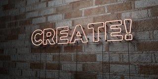 СОЗДАЙТЕСЬ! - Накаляя неоновая вывеска на стене каменной кладки - 3D представило иллюстрацию неизрасходованного запаса королевско иллюстрация вектора