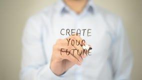 Создайте ваше будущее, сочинительство человека на прозрачном экране стоковые изображения rf