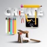 Создайте дизайн с творческими инструментами иллюстрация штока