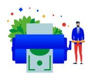 Создатель денег Человек печатает деньги бесплатная иллюстрация