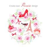 Создайтесь для того чтобы иметь комплект вектора дизайна Парижа Все элементы изолированное иллюстрация вектора