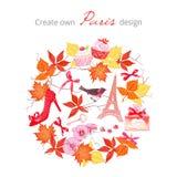 Создайтесь для того чтобы иметь комплект вектора дизайна Парижа осенний Все элементы бесплатная иллюстрация