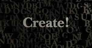 Создайтесь! - 3D представило металлическую typeset иллюстрацию заголовка бесплатная иллюстрация