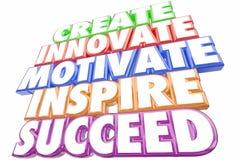 Создайтесь Innovate мотируйте воодушевите преуспейте слова Стоковые Изображения RF