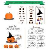Создайте вашего собственного конструктора характера тыквы хеллоуина, набора Смайлики, стикеры, создатель elemets дизайна иллюстрация вектора