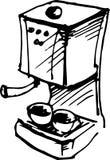 Создатель кофе также вектор иллюстрации притяжки corel иллюстрация штока