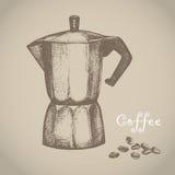 Создатель кофе также вектор иллюстрации притяжки corel иллюстрация вектора