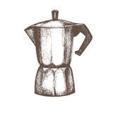 Создатель кофе Черно-белый эскиз иллюстрация вектора