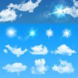 Создатель неба Установленные реалистические облака и солнце вектор экрана иллюстрации 10 eps бесплатная иллюстрация
