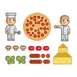 Создатель пиццы, пицца и ингридиенты иллюстрация штока