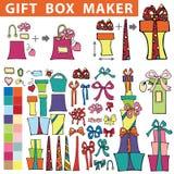 Создатель подарочной коробки Плоский комплект Doodle Стоковые Фото