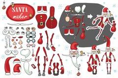 Создатель Санта Клауса Юмористический комплект изображения конструктора иллюстрация вектора