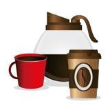 создатель стекловарного горшка и кофе чашек иллюстрация вектора