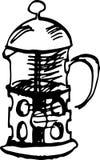 Создатель cofee прессы француза также вектор иллюстрации притяжки corel бесплатная иллюстрация