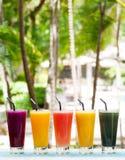 Соки ассортимента, smoothies, напитки, выпивают разнообразие стоковые фото