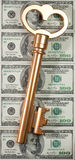сокровище золотистого ключа принципиальной схемы Стоковое фото RF