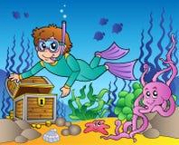 сокровище моря водолаза исследуя Стоковая Фотография RF