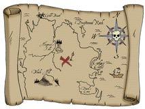 сокровище пирата карты Стоковое Изображение