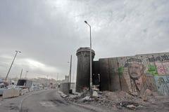 Сокрушенный контрольно-пропускной пункт в Палестине Рамалла Стоковое Изображение