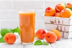 Сок абрикоса и свежие фрукты Стоковое Фото