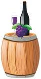 Сок виноградины в стекле и бутылке иллюстрация вектора