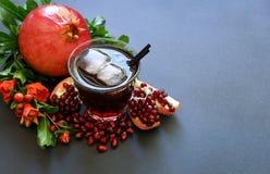 Сок гранатового дерева, плодоовощ, семена, ветви Стоковое фото RF