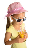 Сок девушки выпивая стоковое изображение rf