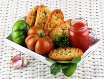 Сок и хлеб томата Стоковые Изображения RF