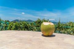 Сок кокоса на деревянной таблице в предпосылке голубого неба Стоковое Фото