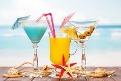 2 сок коктеилей, стеклянных, морские звёзды и раковины на предпосылке моря Стоковое фото RF