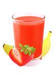 Сок клубники и банана изолированных на белой предпосылке Стоковая Фотография RF