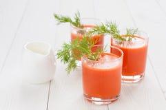 Сок моркови в стеклах Стоковые Фотографии RF