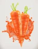 Сок моркови Свежий овощ, значок вектора Стоковые Изображения