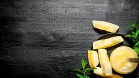 Сок от дыни с листьями мяты Стоковое Фото
