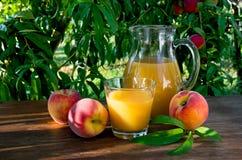 Сок персика в графинчике и стекле Стоковые Изображения
