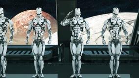 Солдаты роботов на космическом корабле салютуют на фоне космоса и планет Футуристическая концепция UFO бесплатная иллюстрация