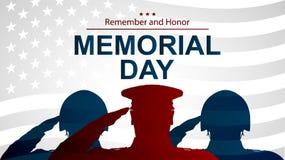 Солдаты silhouette салютовать флагу США на День памяти погибших в войнах Иллюстрация плаката или знамен Стоковые Изображения