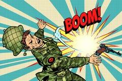 Солдат и взрыв, смерть в войне иллюстрация вектора